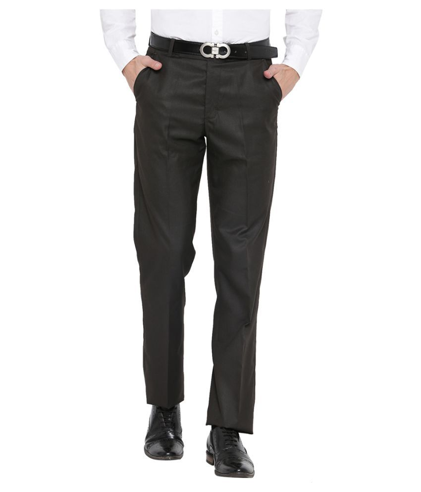 Neva Brown Regular -Fit Pleated Trousers