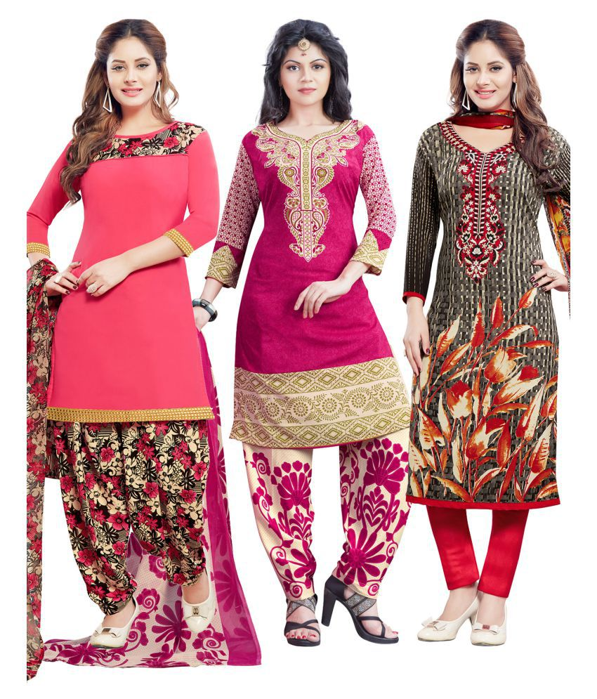 Salwar Studio Multicoloured Synthetic Dress Material