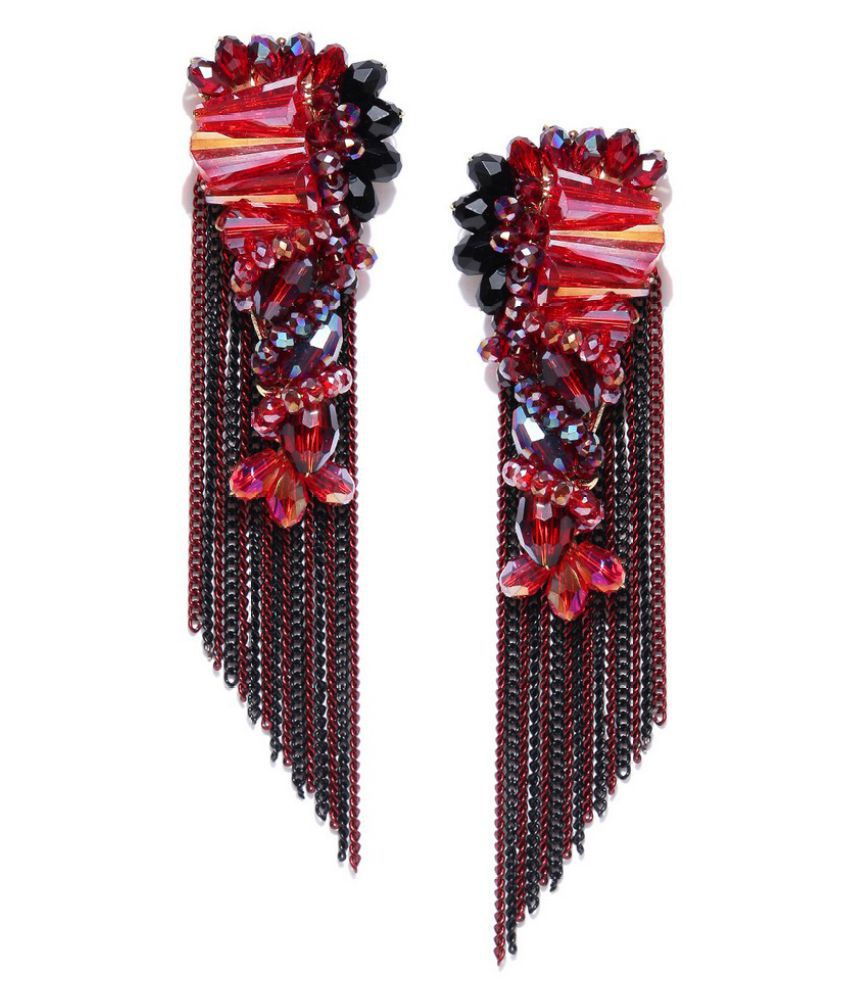 Jewels Galaxy Valentine Special Circle Of Life Fascinating Colorful Onyx Stones Chain-Drop Tassel Earrings For Women/Girls