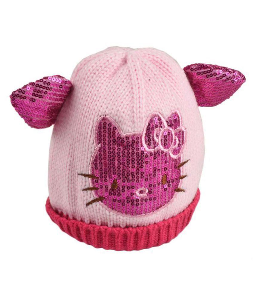 Tiekart Purple Designer Winter Warm Woolen Cap for Kids