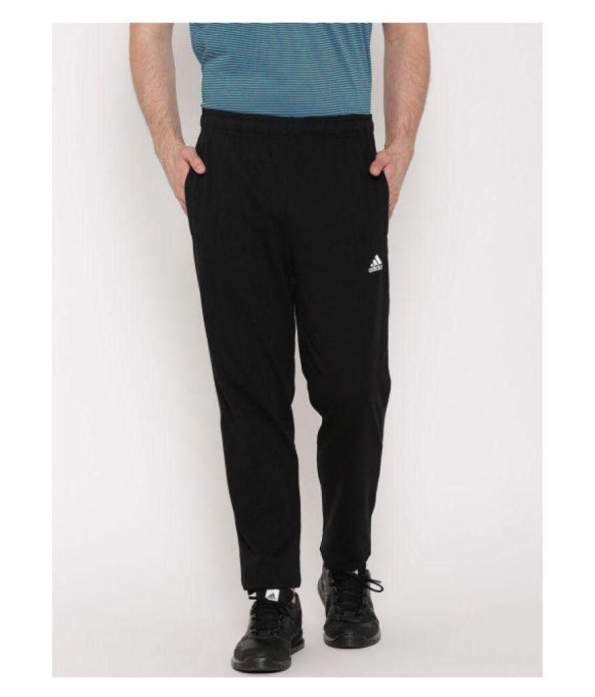 Adidas Blue/Black Polyester Lycra Jogging Trackpant
