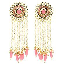 Sanjog Embellished Imperial Pearls and Semi Precious Stones Pink Dangle & Drop Earrings For Women Girls