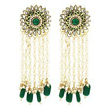 Sanjog Embellished Imperial Pearls and Semi Precious Stones Green Dangle & Drop Earrings For Women Girls
