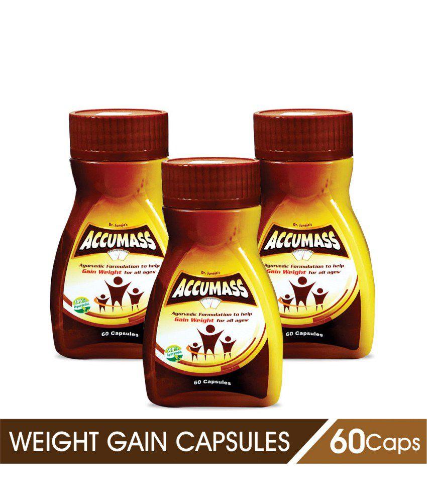 Accumass Weight Gain Capsules 60Caps, Pack of 3 (Ayurvedic Weight Gainer for Men & Women)