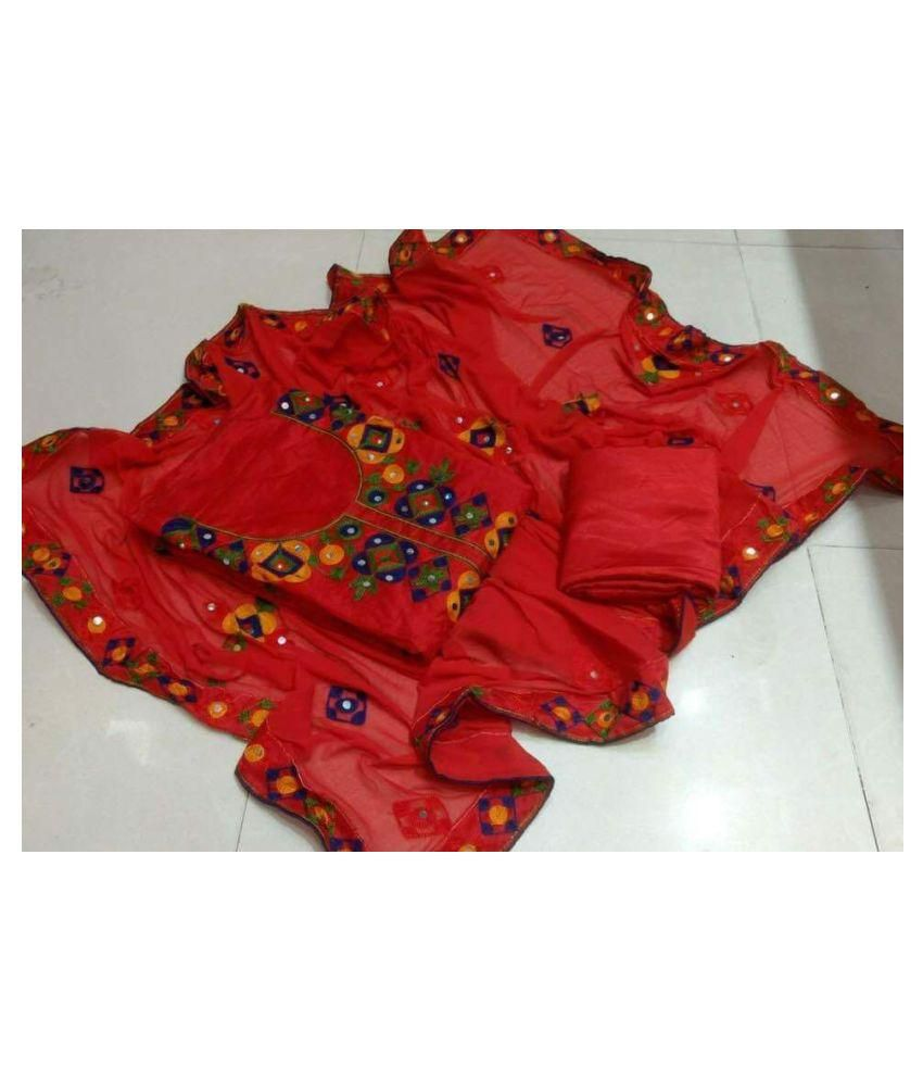 GLAMSTRIKE Red Chanderi Dress Material
