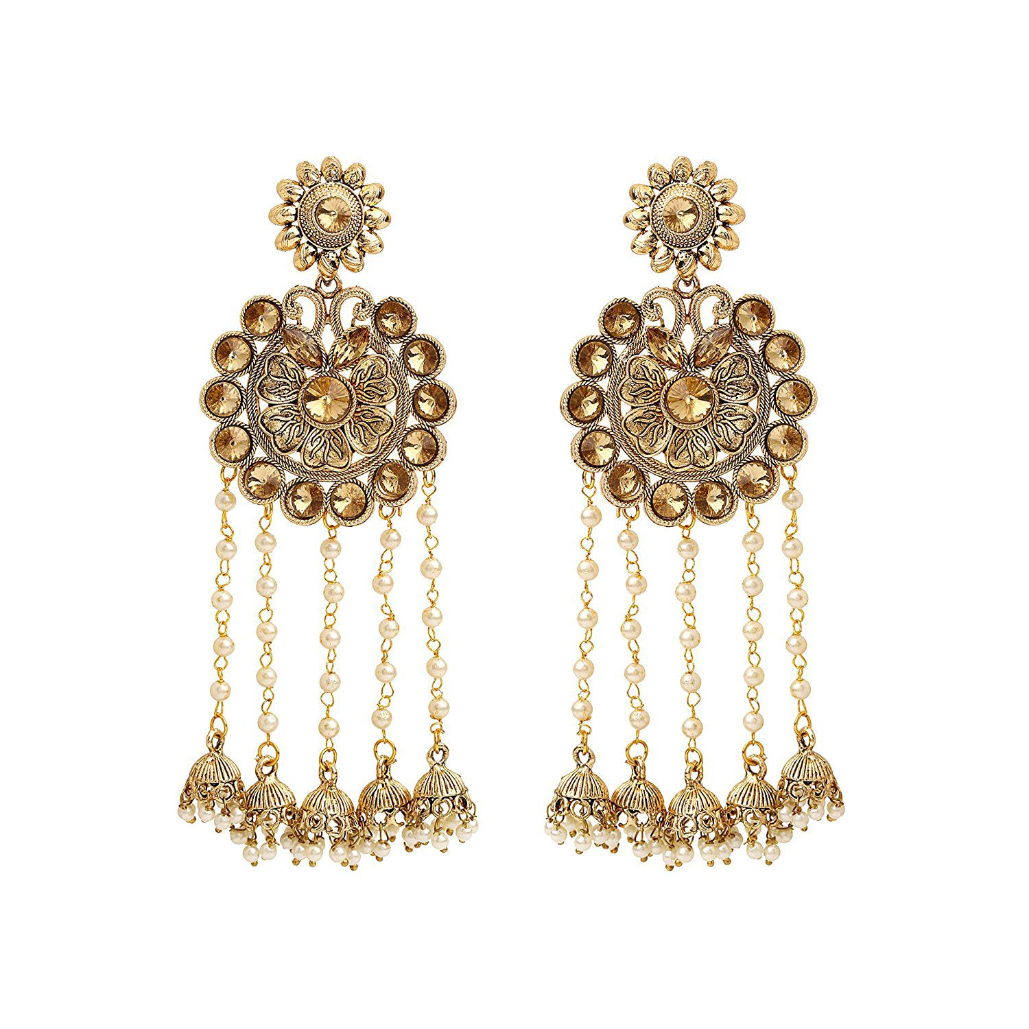 Sanjog Fashion Jewellery Gold Plated Party Wear Pearl Jhumka