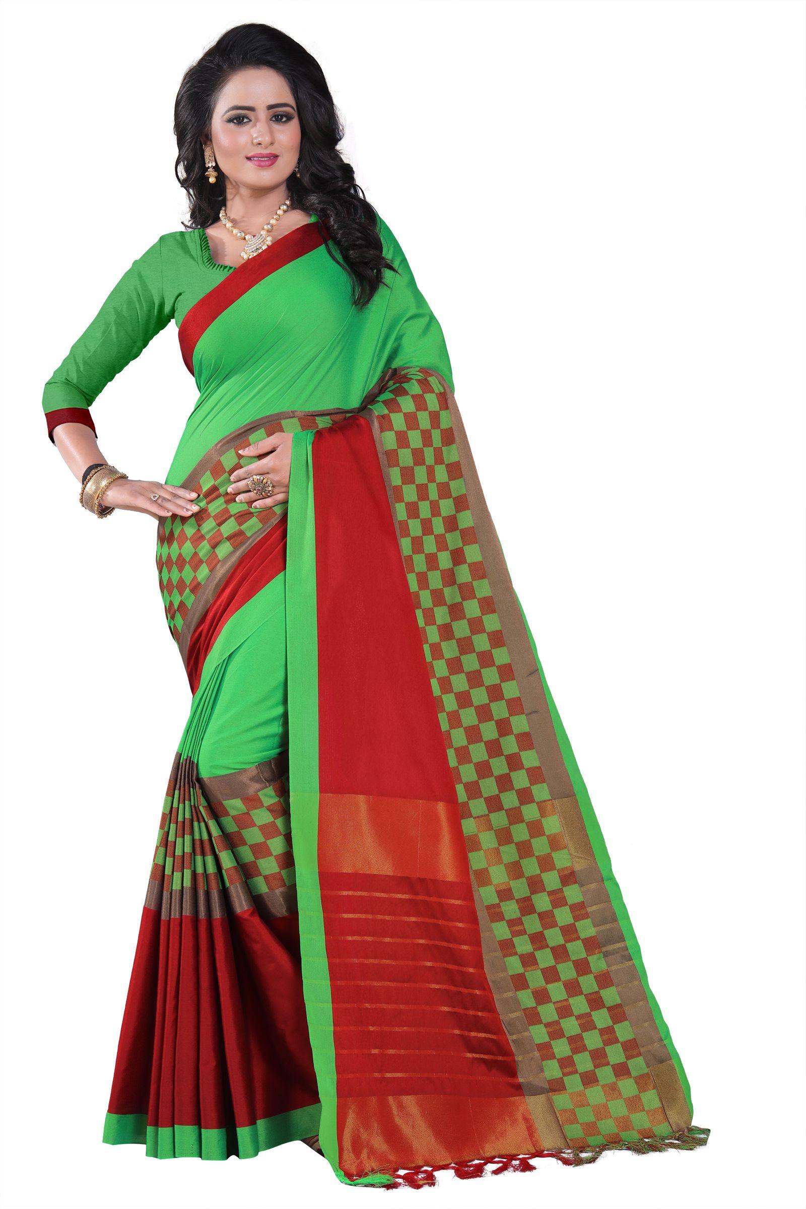 Winklecart Green Cotton Silk Saree