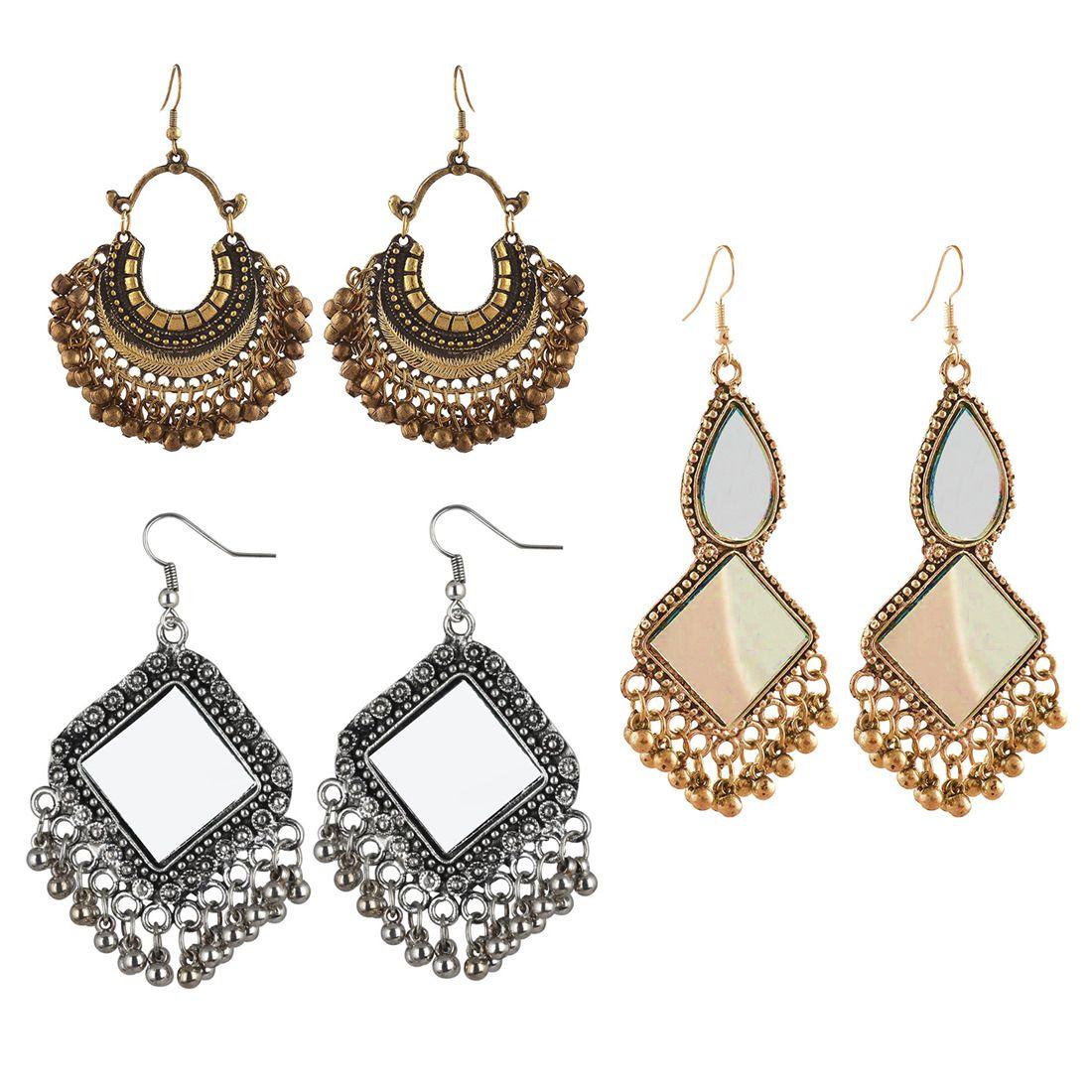 Aabhu Fashionable Popular Fancy Party Wear Regular Combo of 3 Pair Earrings