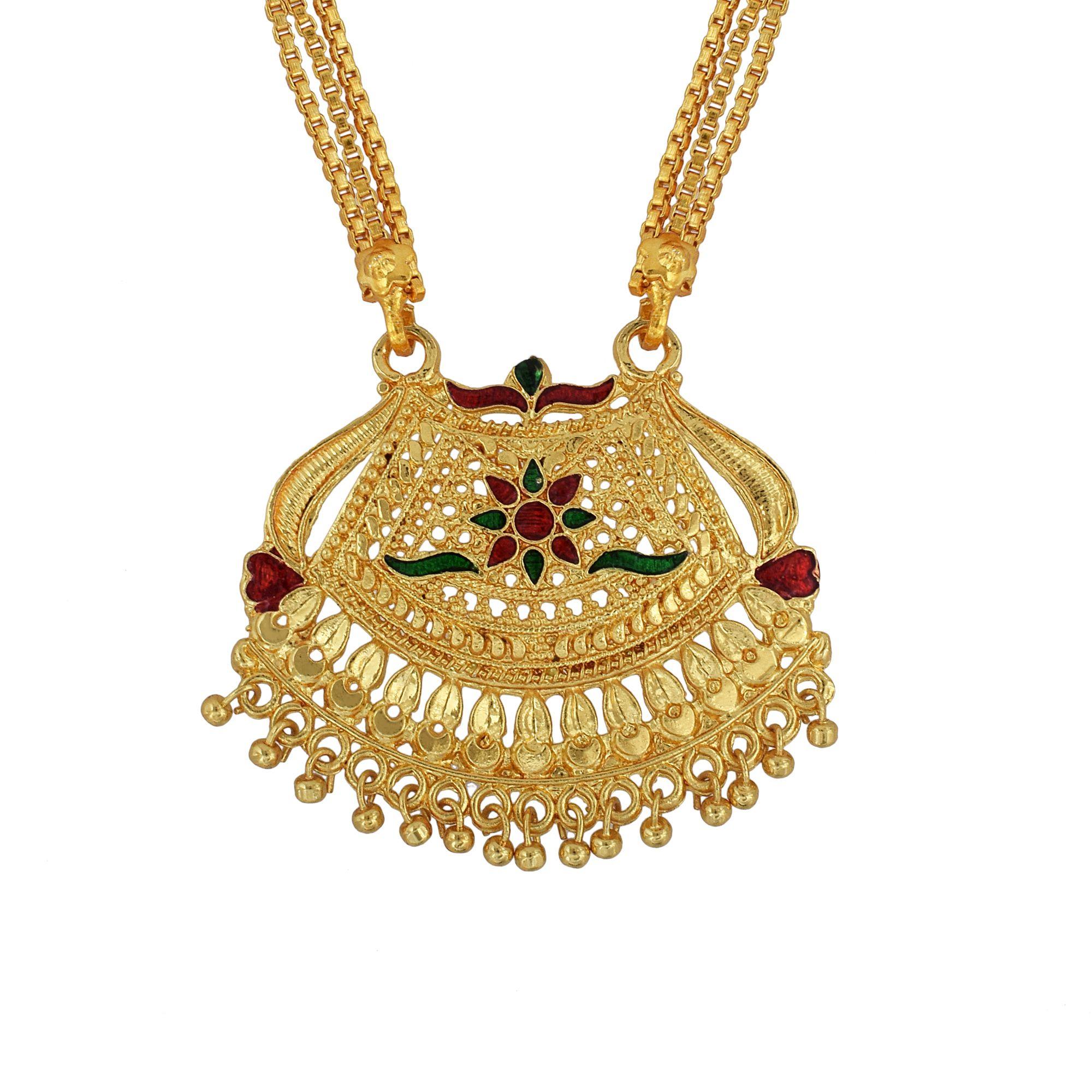 Dzine Trendz Gold plated brass, Meenakari Ethnic Handmade Mangalsutra Women Tradtional