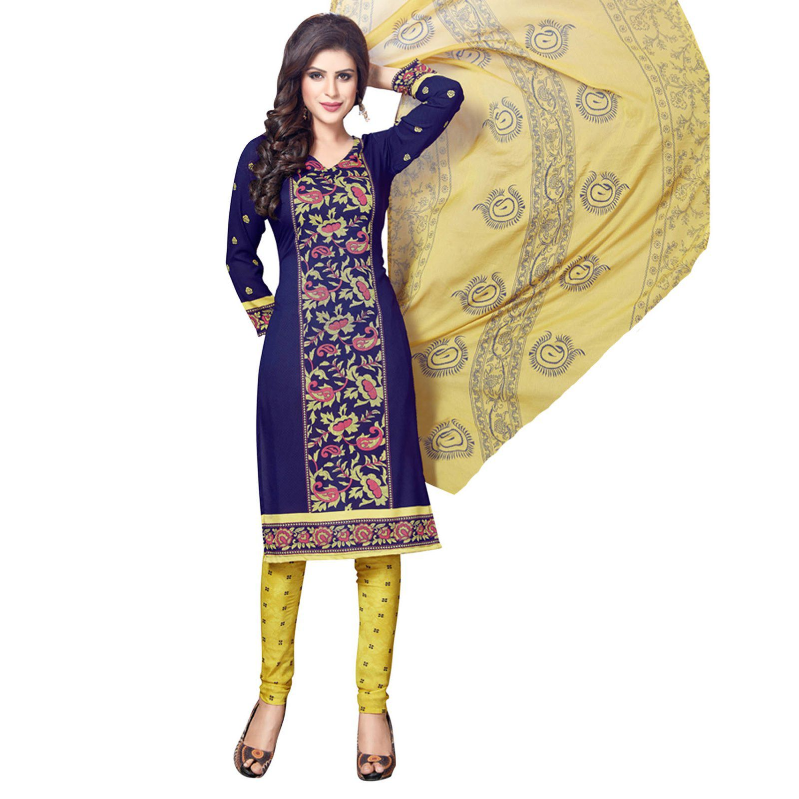 SALWAR HOUSE Blue Synthetic Dress Material