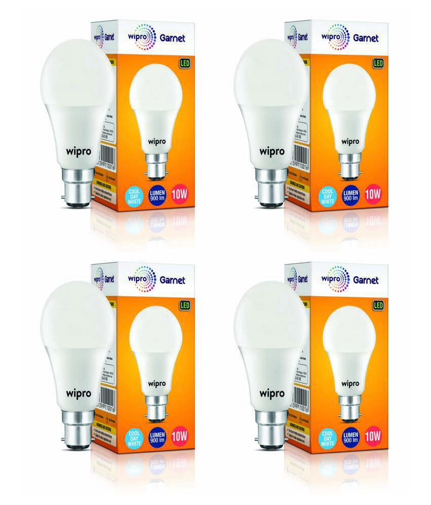 Wipro 10W LED Bulbs Cool Day Light - Pack Of 4
