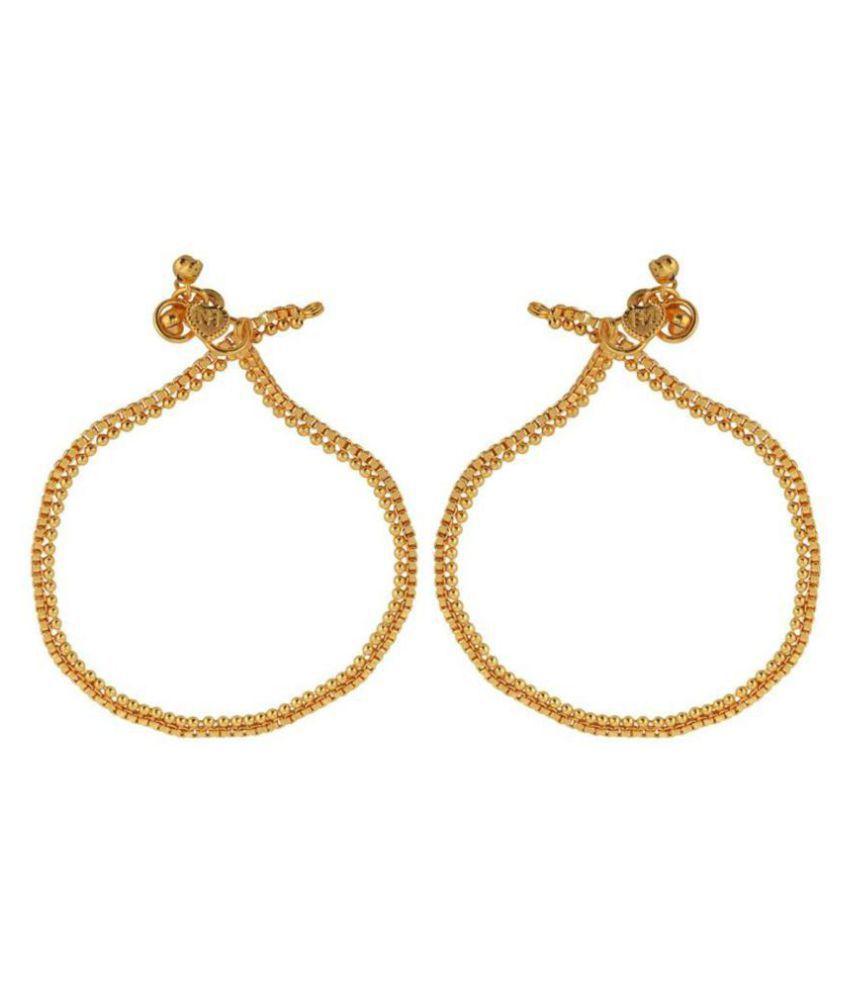 DzineTrendz Gold Plated Rasrawa work Anklet for Women
