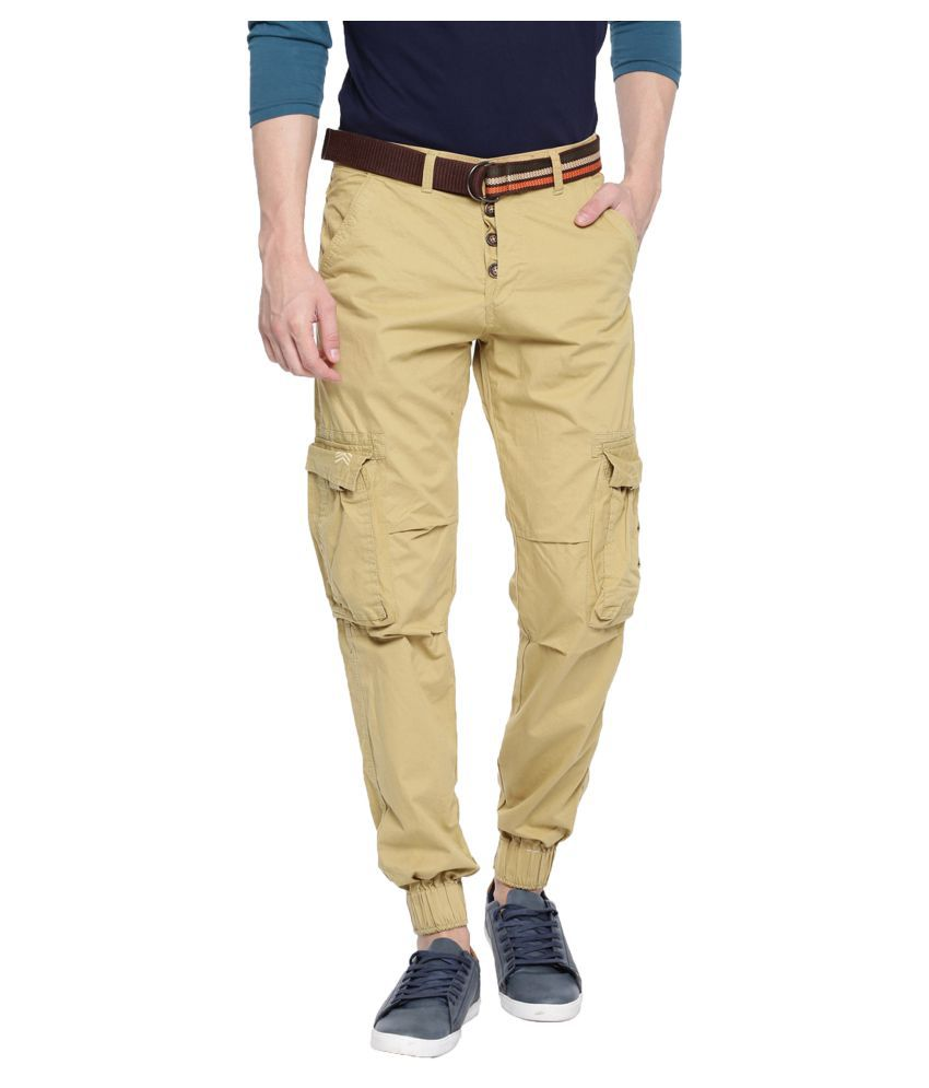 FIFTY TWO Beige Slim -Fit Flat Cargos