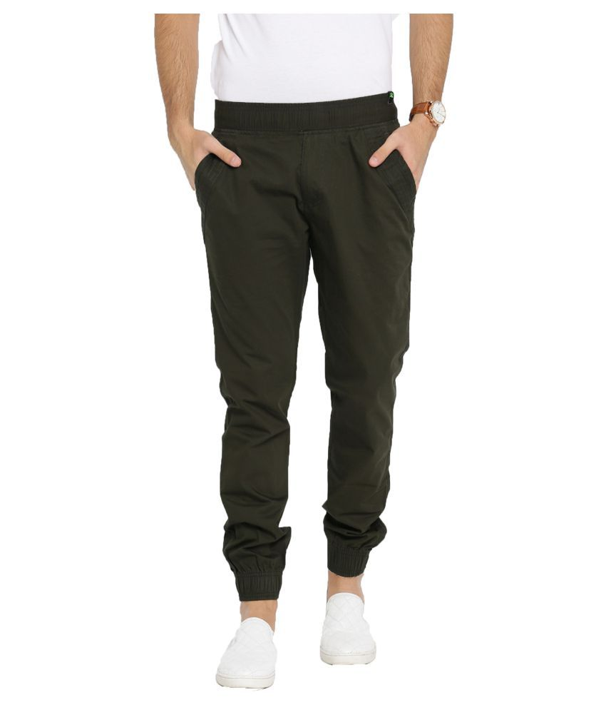 FIFTY TWO Green Slim -Fit Flat Joggers