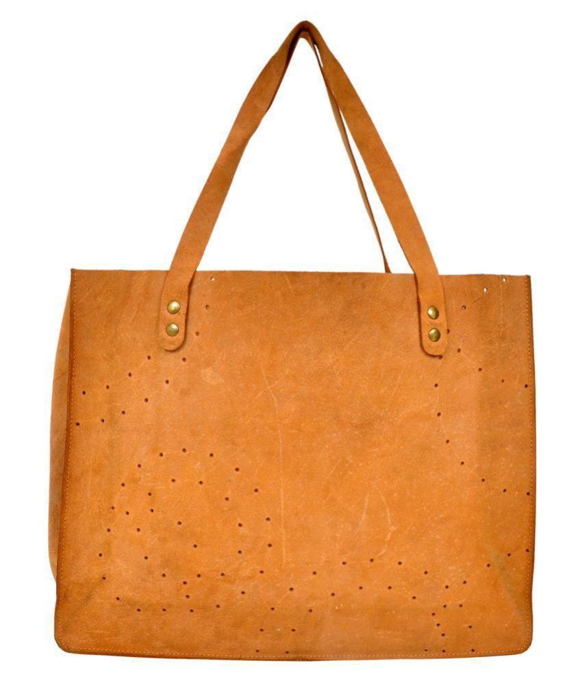 Hyde & Syde Tan Faux Leather Tote Bag
