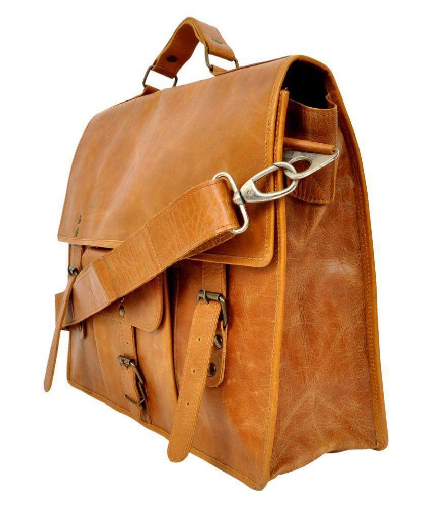Hyde & Syde Tan Leather Office Messenger Bag