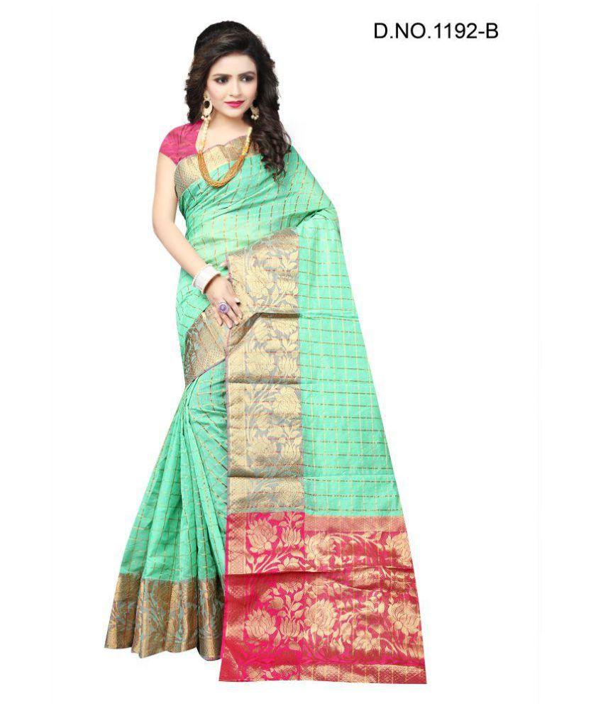 Dhyana Creation Green and Beige Cotton Silk Saree