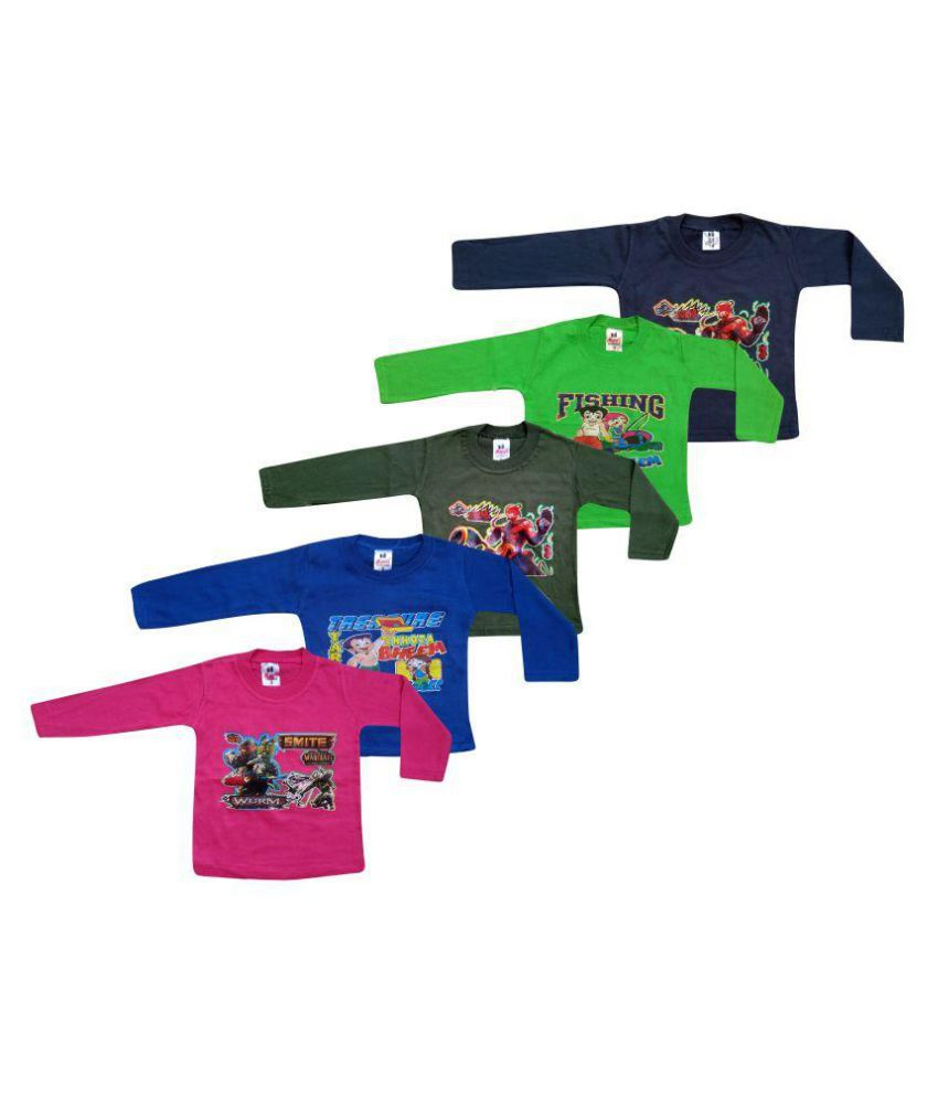 Jisha Fashion Full Sleeves T-Shirts Pack Of 5 For Boys