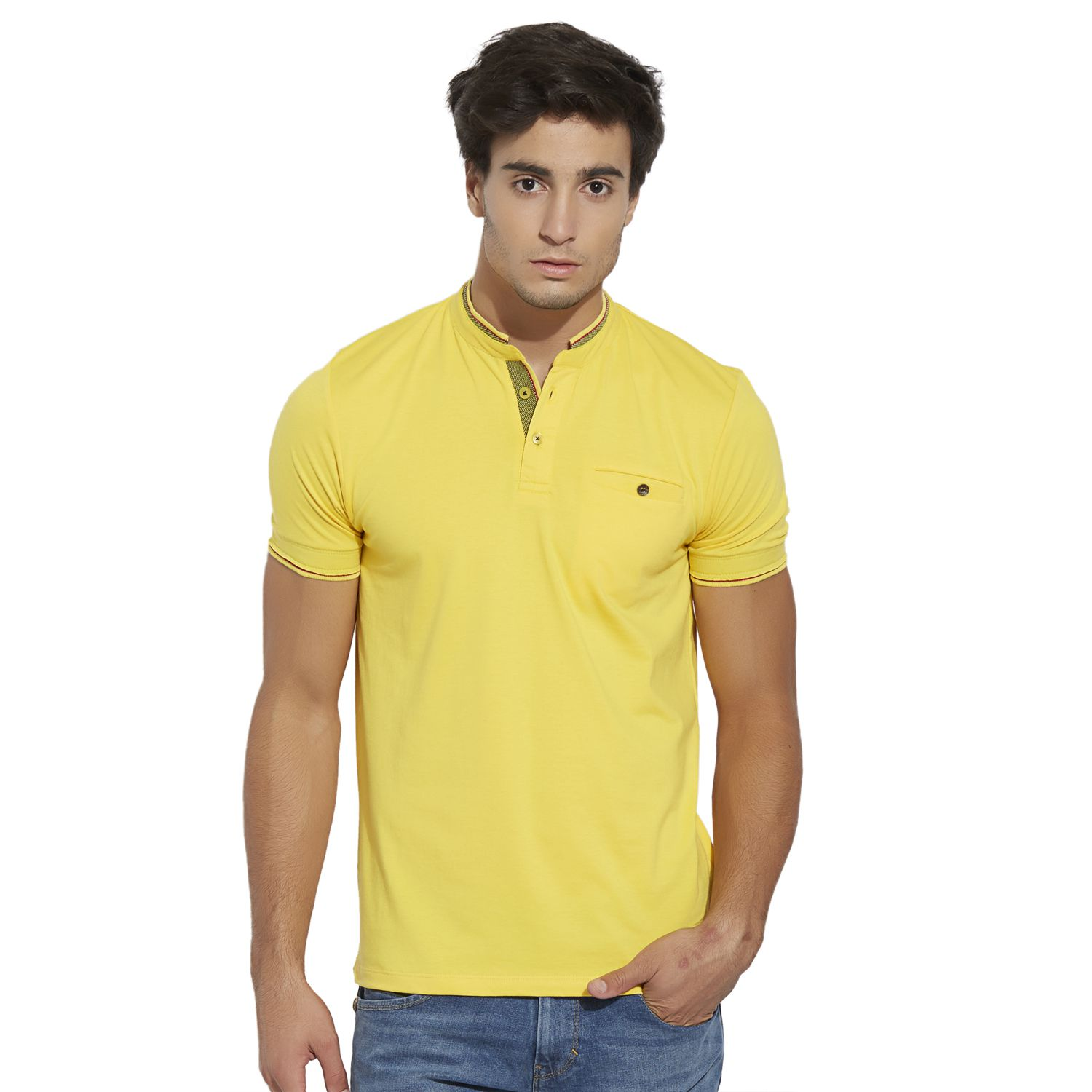 BONATY Yellow Lycra Cotton Blend Mandarin Half Sleeves Solid T-Shirt For Men