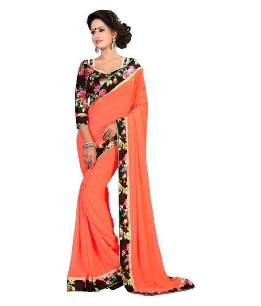 Online Bazaar Orange Georgette Saree