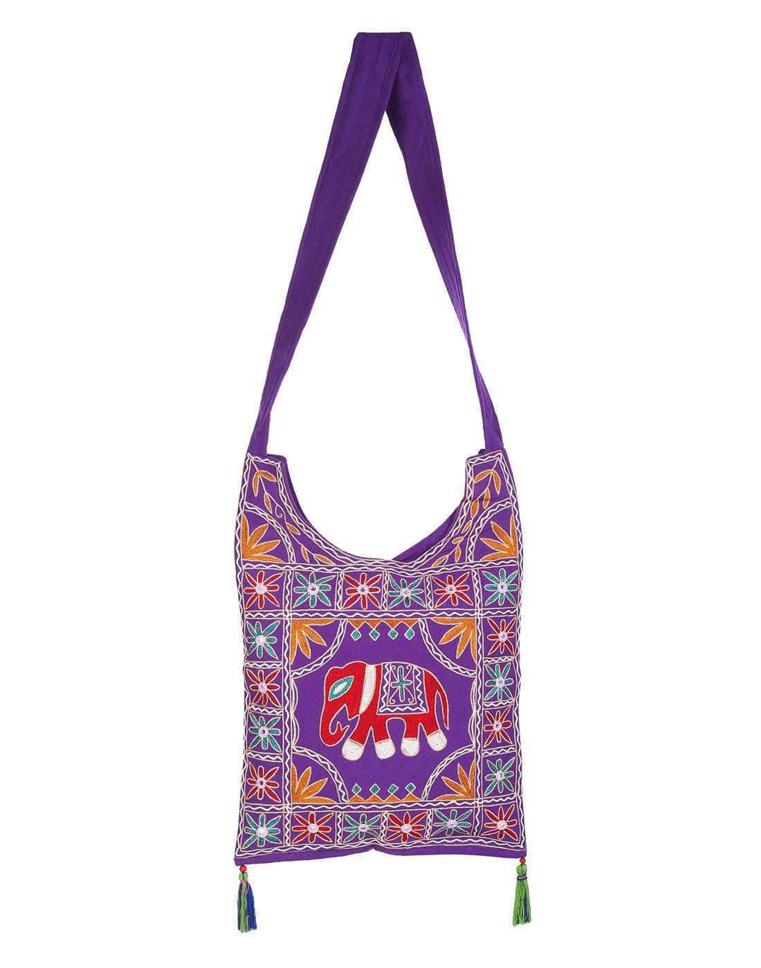 Rajrang Purple Cotton Jhola