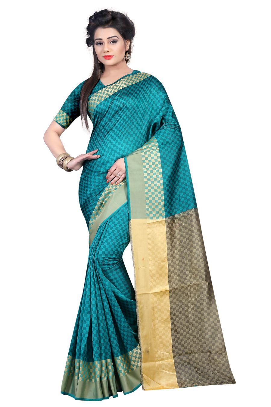 EK PRASANG Turquoise Cotton Poly Saree