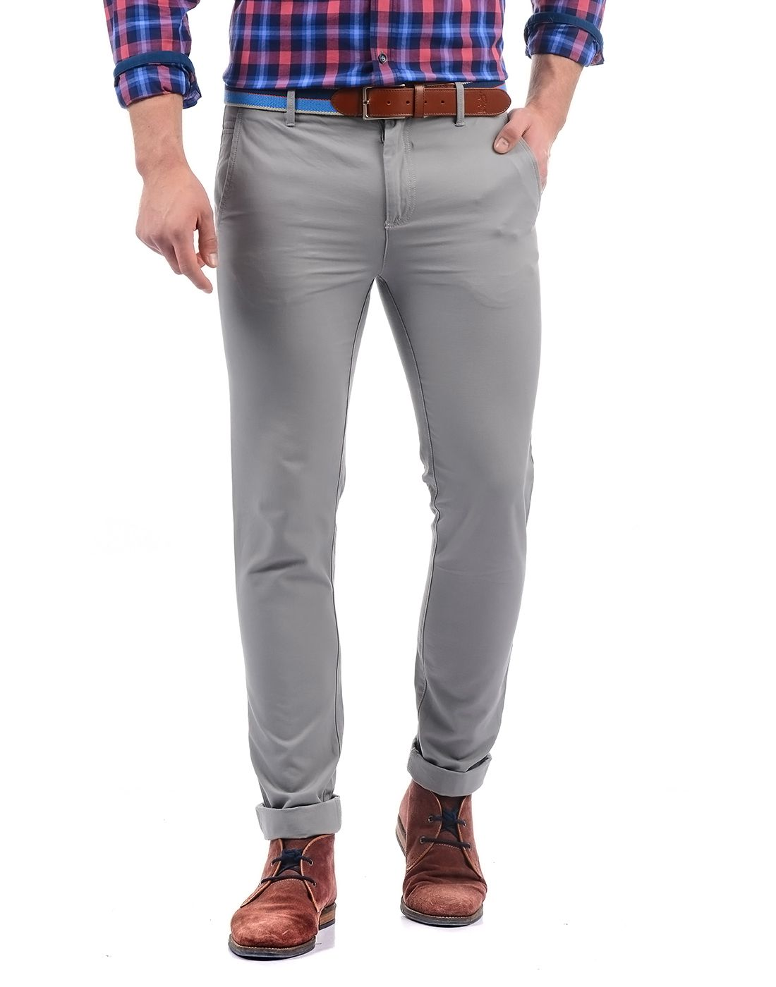 Arrow Grey Slim -Fit Flat Trousers