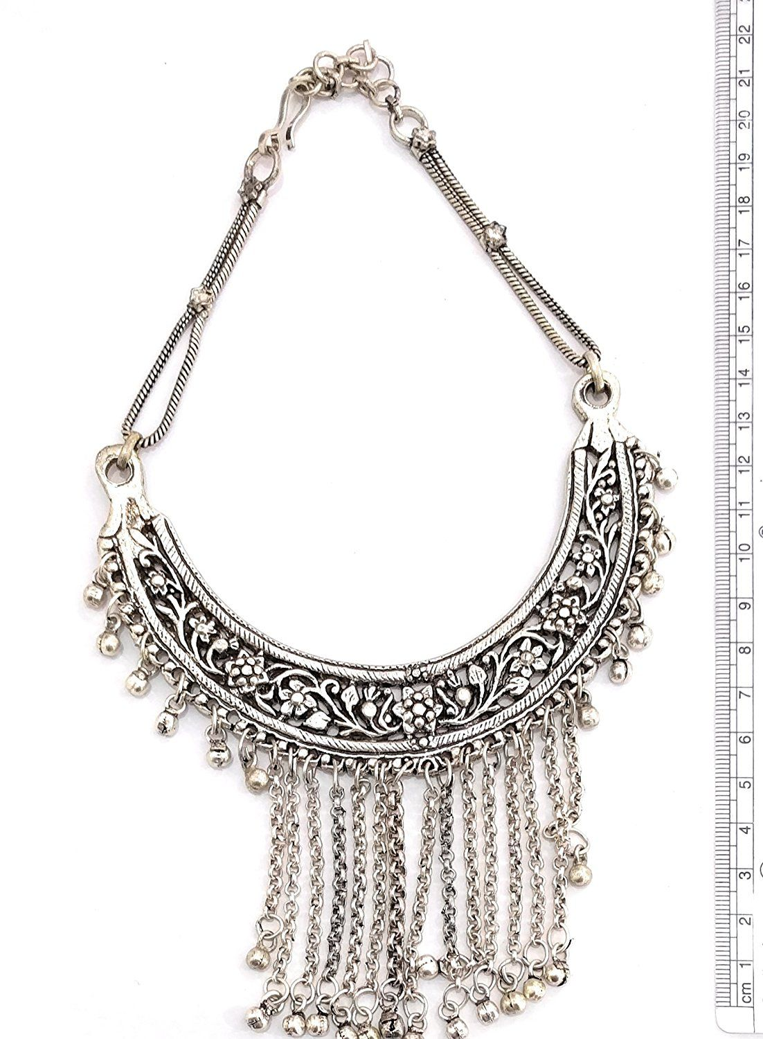 athizay Alloy Silver Choker Traditional Oxidised Necklace