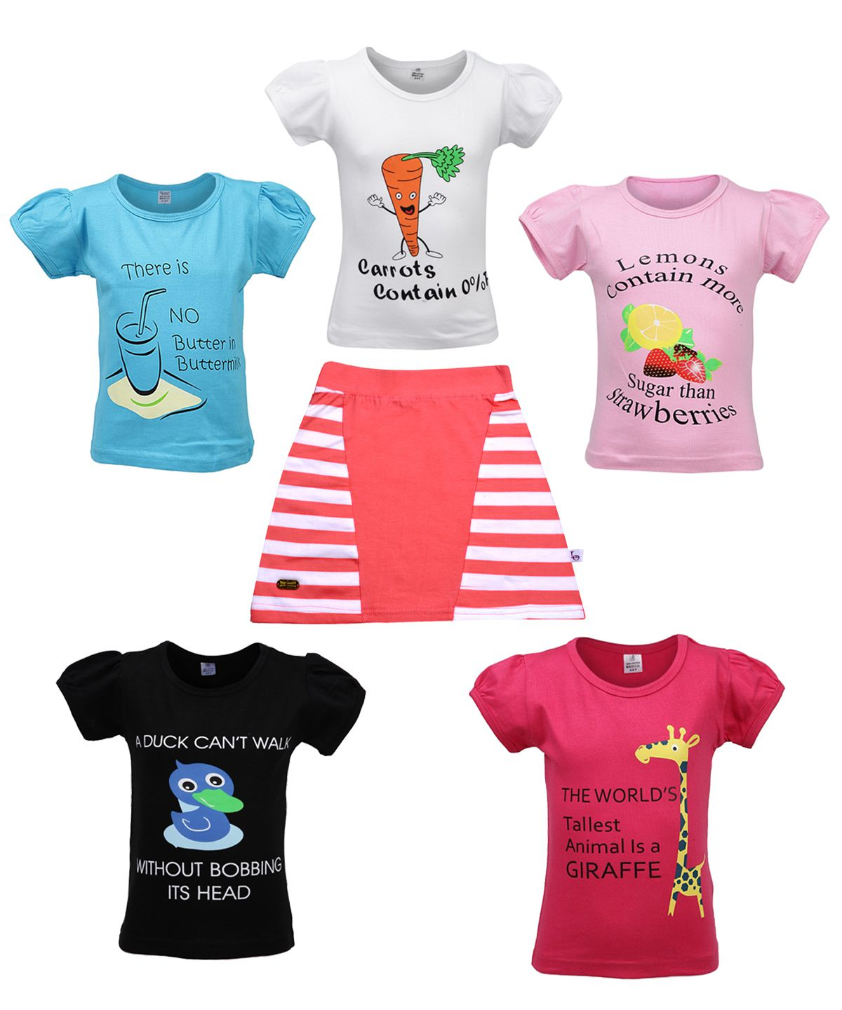 Gkidz  Girls Multicolor Cotton T Shirts and Girls Cotton Skirts