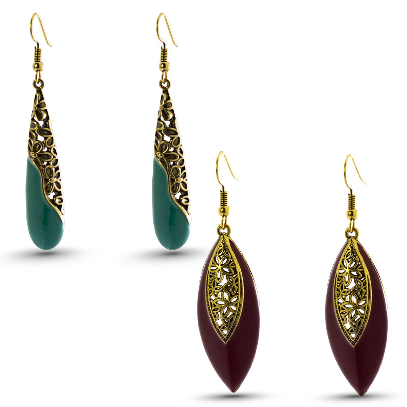 Three Shades Earrings Combo Set of 2 Designer Earrings for Girls & Women Party Wear, Daily Wear, Office Wear Designer Earrings 158