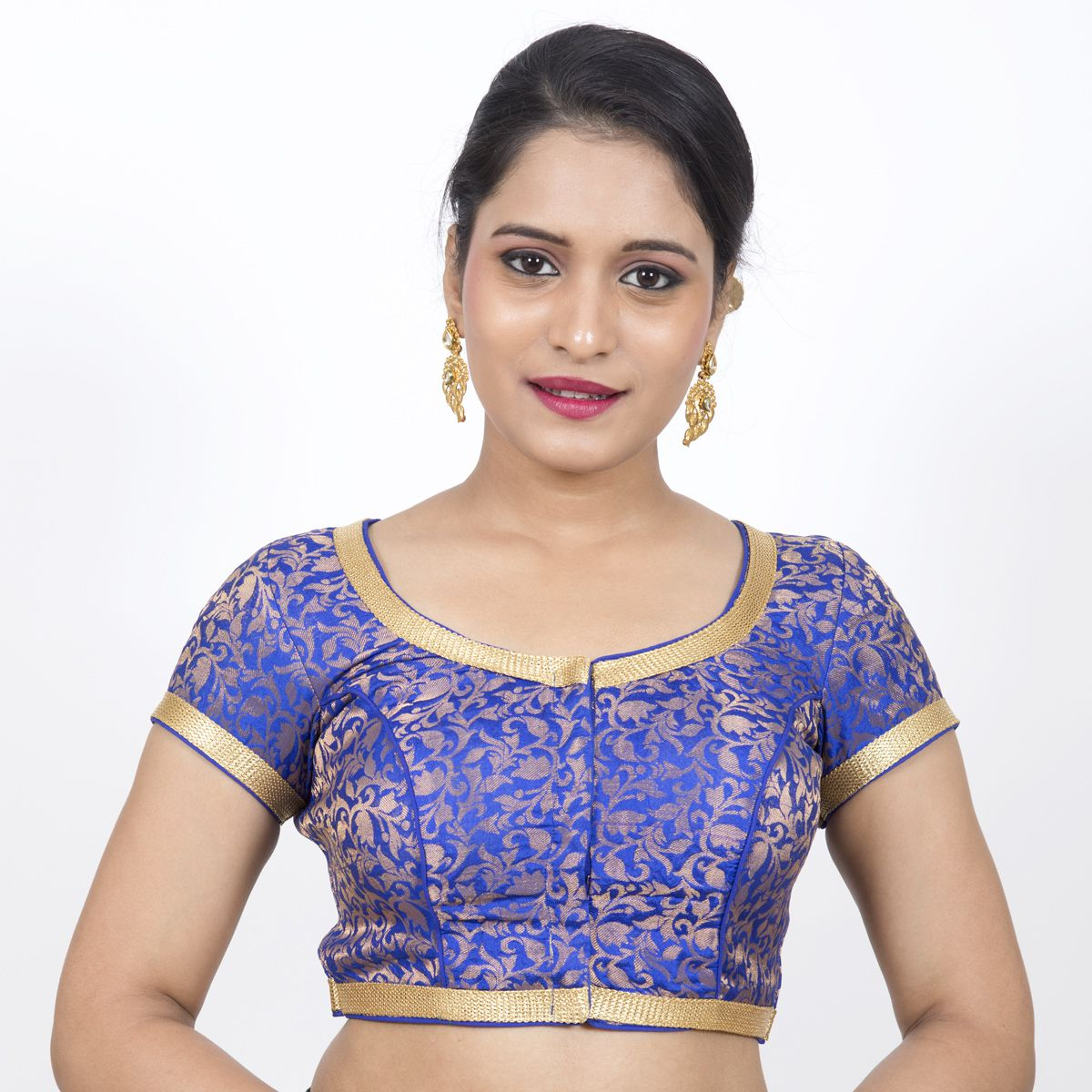 NAMI Blue Brocade Readymade with Pad Blouse