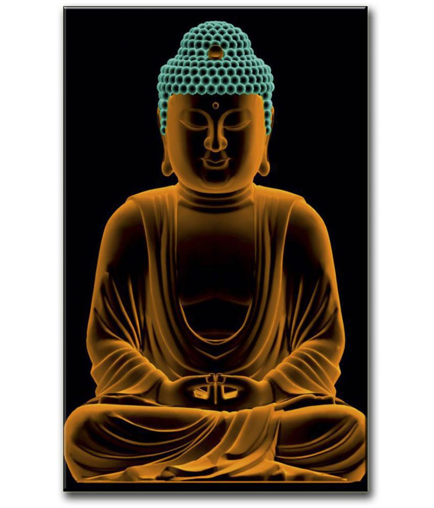 Anweshas Gallery Wrapped Digitally Printed 12.5 X 20 Inch - Buddha Canvas Painting With Frame