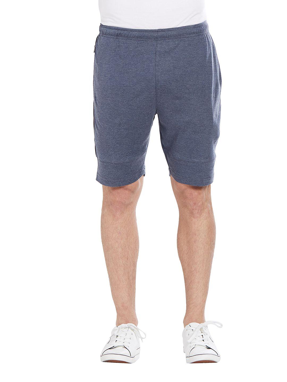 BONATY Dark Blue Blended Cotton Solid  Shorts For Men