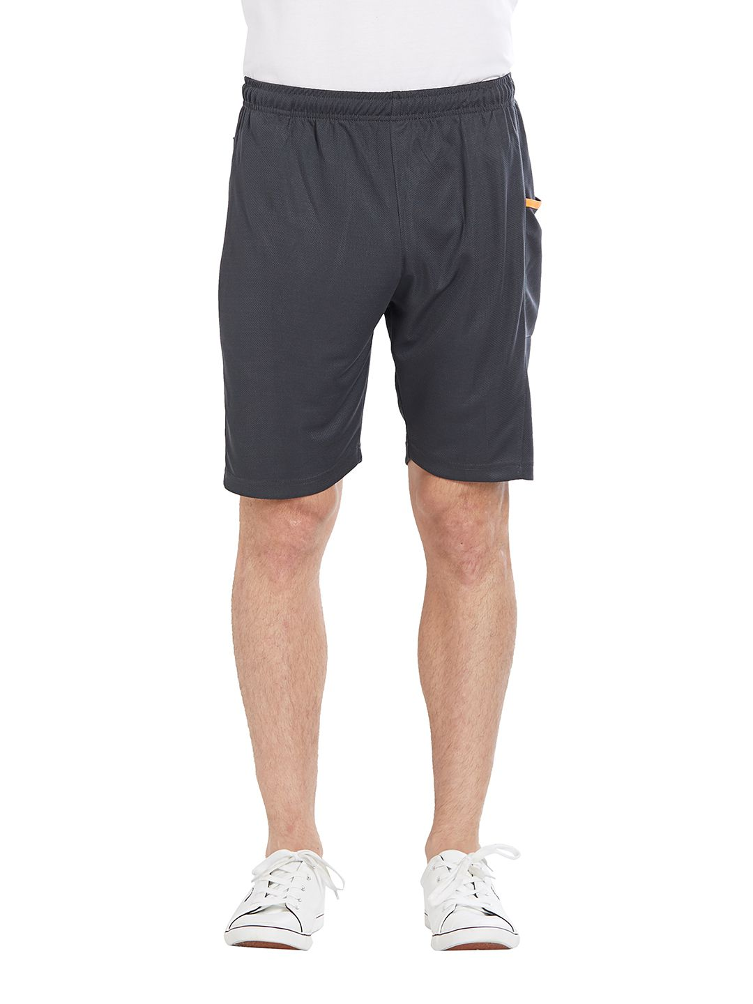 BONATY Dark Grey 100% Polyester Solid  Shorts For Men