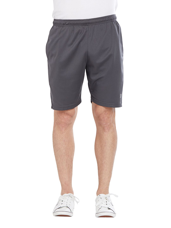 BONATY Dark Grey Blended Cotton Solid  Shorts For Men