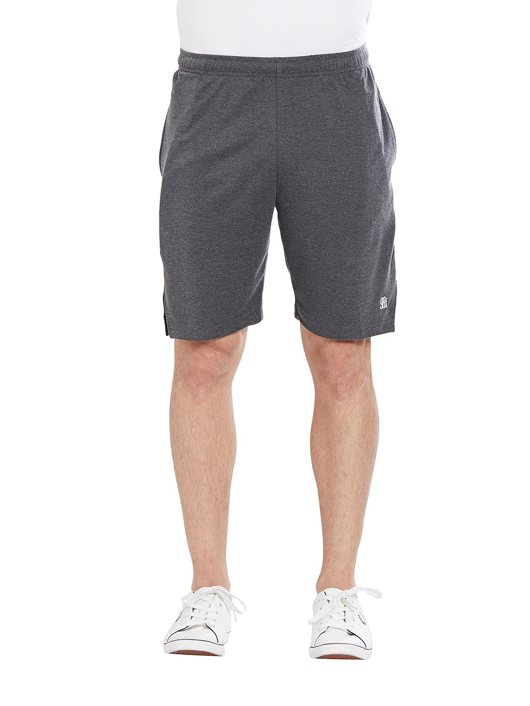 BONATY Grey 100% Polyester Solid  Shorts For Men