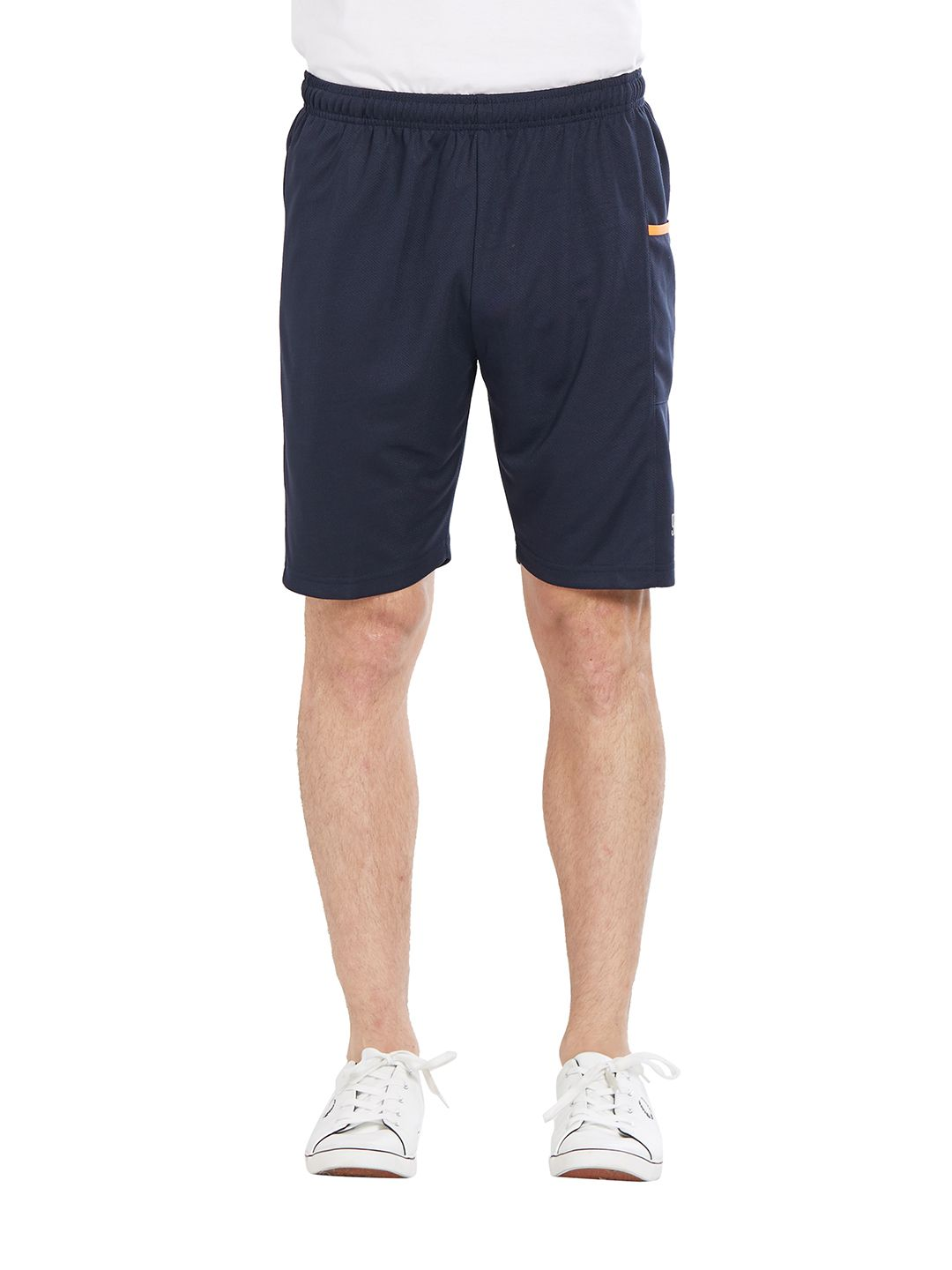 BONATY Navy Blue 100% Polyester Solid  Shorts For Men
