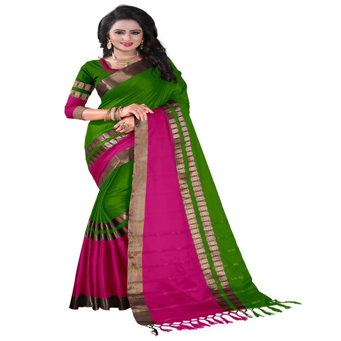 Genius Creation Green Cotton Silk Saree
