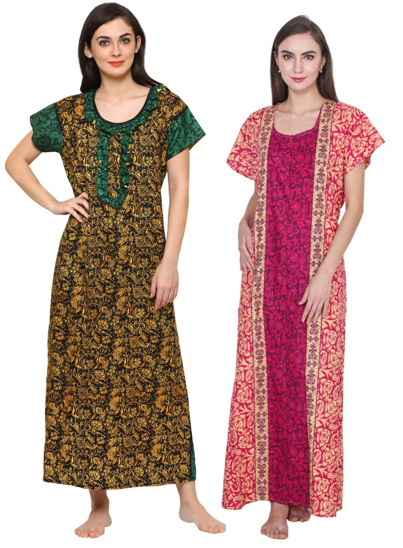Klamotten Cotton Nighty & Night Gowns - Multi Color