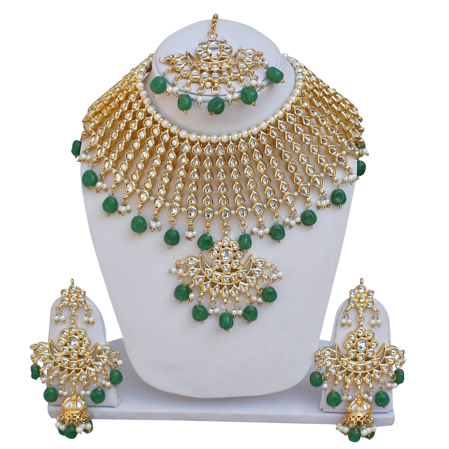 Lucky Jewellery Ethnic Green Color Gold Plated Pearl And Kundan Necklace Set For Girls & Women