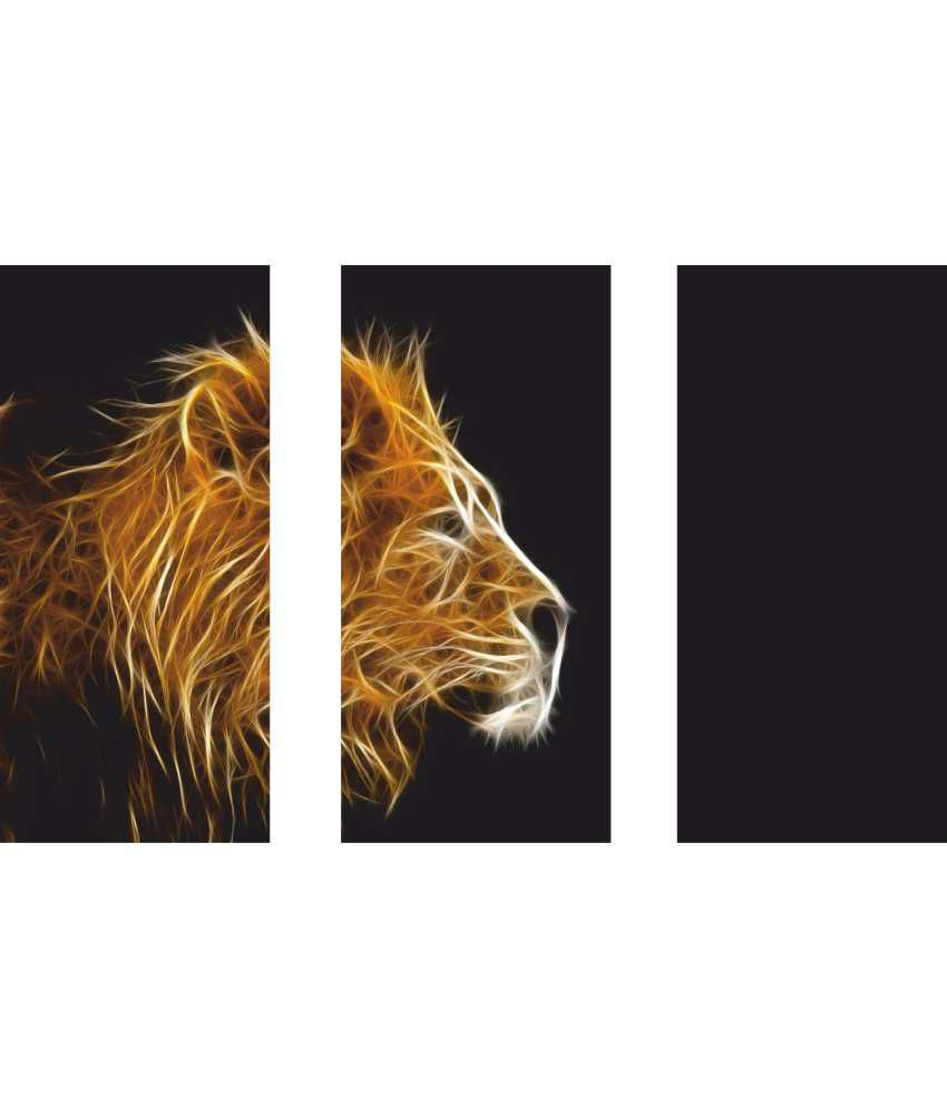 Anwesha's Lion 3 Frame Split Effect Digitally Printed Canvas Painting With Frame