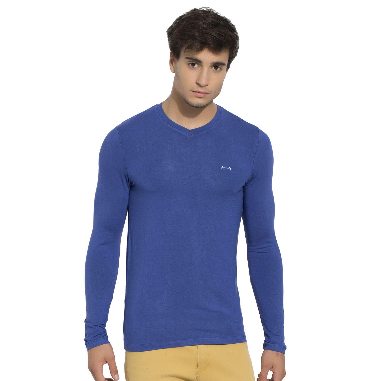 BONATY Royal Blue Micro Modal  V-Neck Full Sleeves Solid T-Shirt For Men