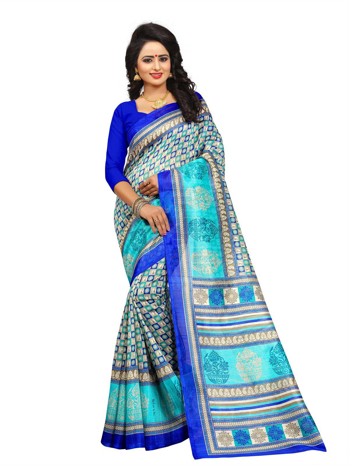 Sanskriti Designers Blue Bhagalpuri Silk Saree