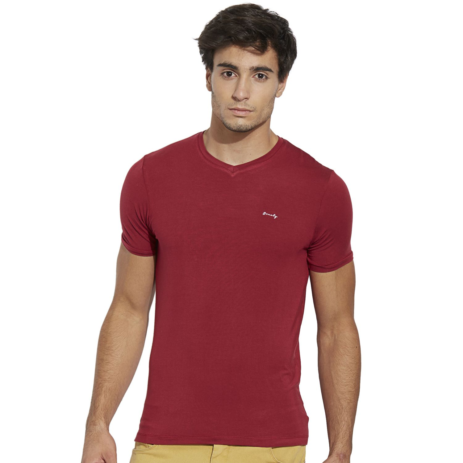 BONATY Red Micro Modal  V-Neck Half Sleeves Solid T-Shirt For Men