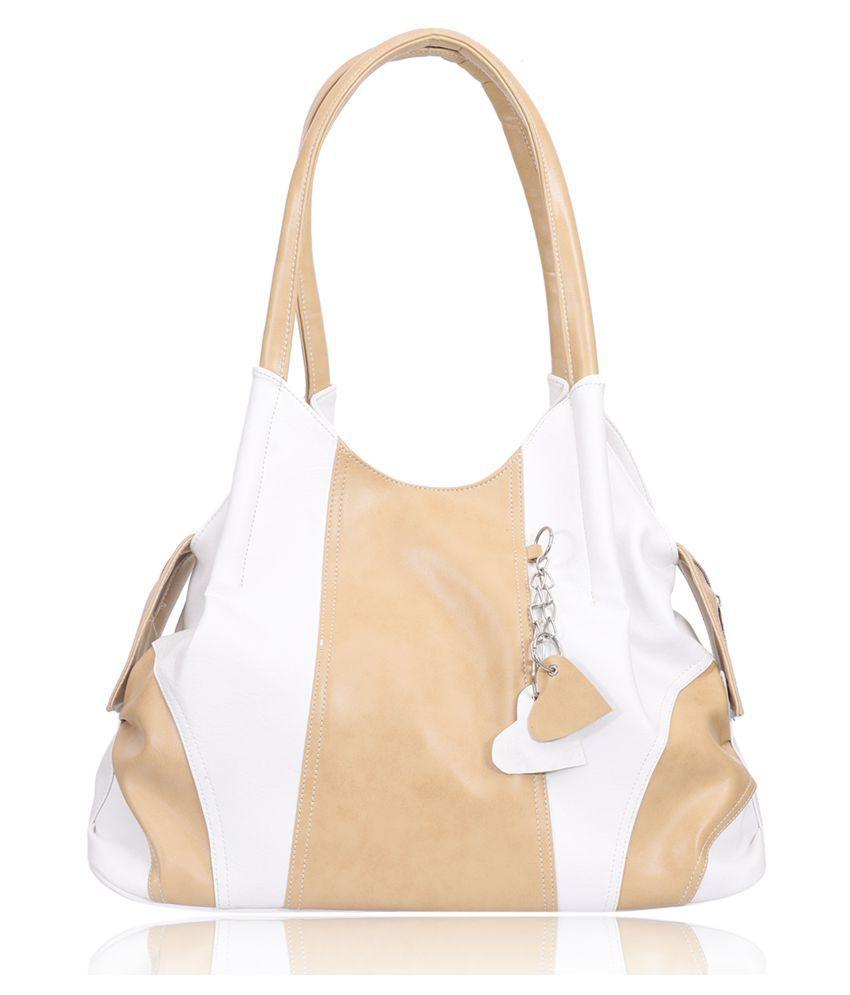 Belizza Beige Faux Leather Shoulder Bag