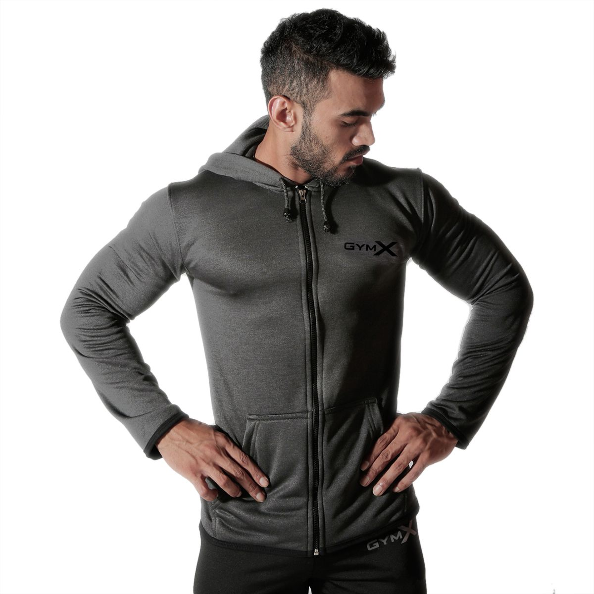 GymX Men Cotton Carbon Grey- Vortex Hoodies