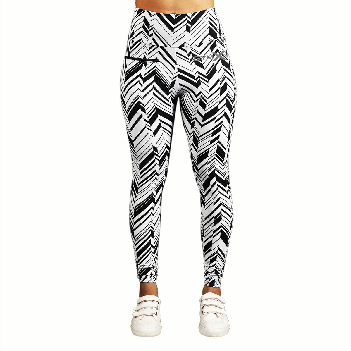 GymX Womens Polyester Allure Leggings:Monocrome