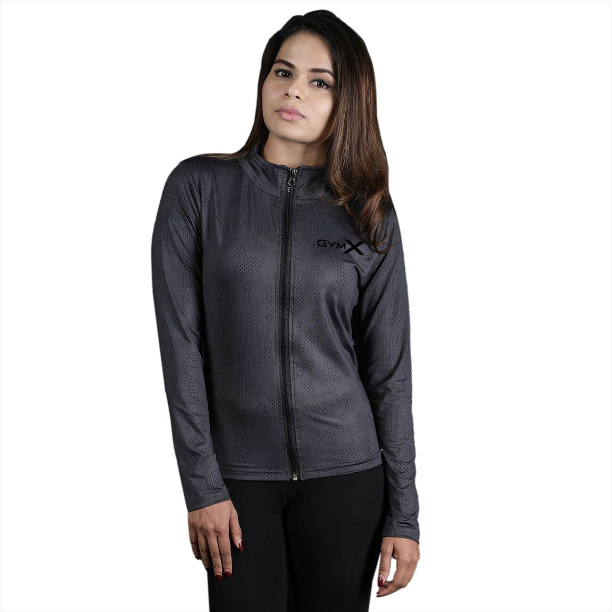 GymX Womens Royal Grey Full Zip Jacket- Athena Series