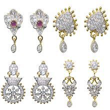 Jewels Kafe Precious Collection Of Fancy AD Earrings - Combo Of 4 For Women