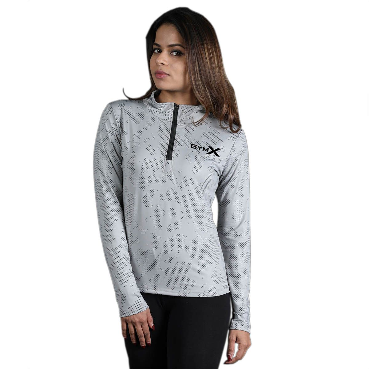 GymX Womens Cloud Grey 1/4th Zip Pullover- Athena Series Jacket (Size:Large)